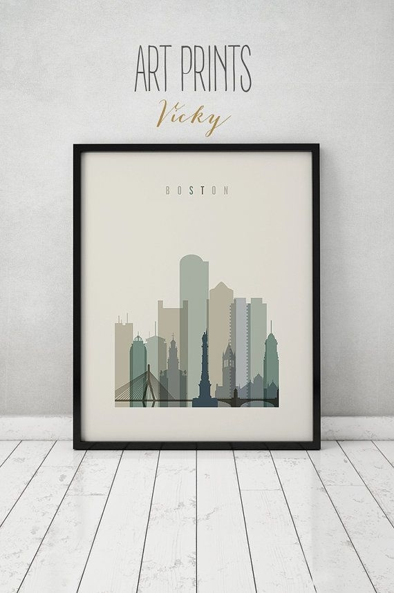 Boston Print, Poster, Boston Art, Massachusetts, Boston Skyline For Boston Wall Art (View 14 of 25)
