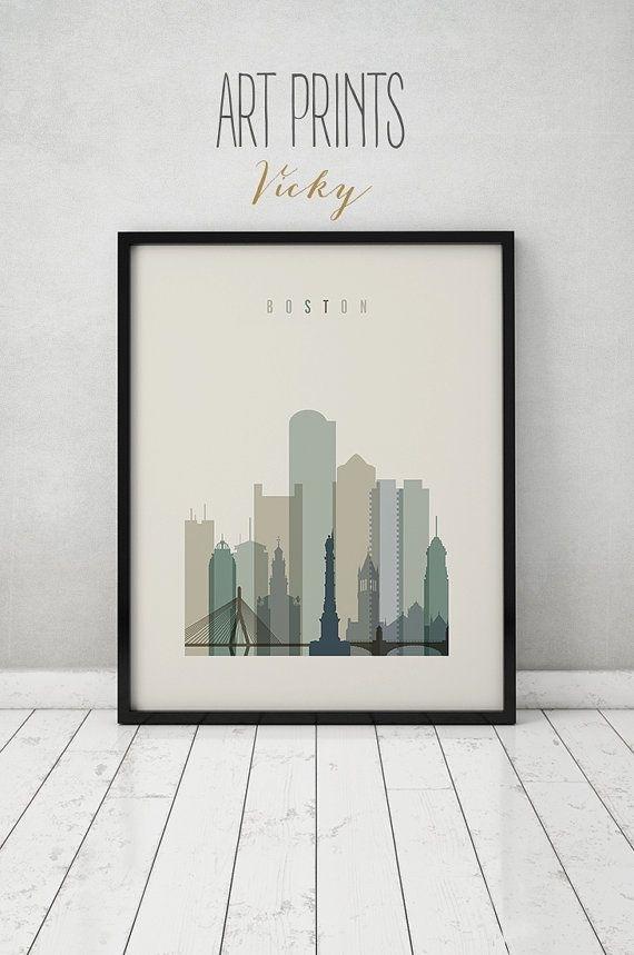 Boston Print, Poster, Boston Art, Massachusetts, Boston Skyline For Boston Wall Art (Image 8 of 25)
