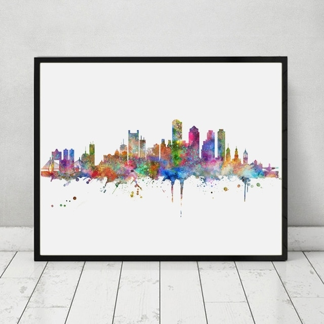 Boston Skyline Art Print Painting Inspirational City Skyline Wall Regarding Boston Wall Art (View 5 of 25)
