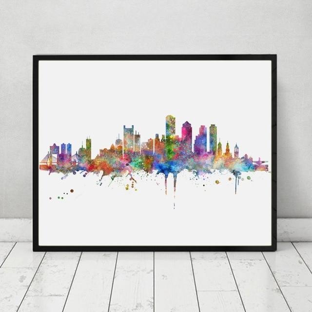 Boston Skyline Art Print Painting Inspirational City Skyline Wall Regarding Boston Wall Art (Image 9 of 25)