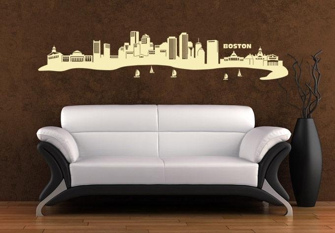 Boston Skyline Wall Art – East Coast Flair Vinyl Decal Inside Boston Wall Art (Image 10 of 25)
