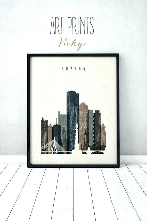 Boston Wall Decor Wall Art Skyline Print Distressed Poster Travel With Regard To Boston Wall Art (Image 18 of 25)