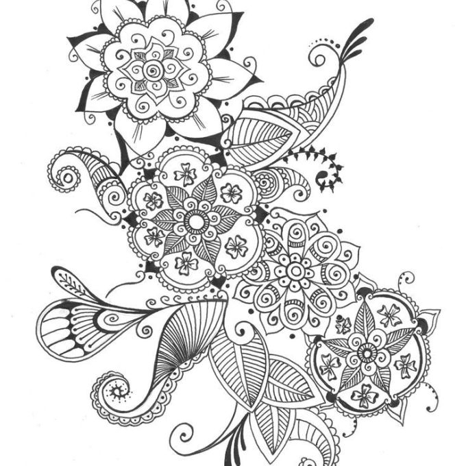 Bouquet Of Flowers Henna Floral Ink Drawing Wall Art, Wall Flowers Within Henna Wall Art (Image 7 of 25)