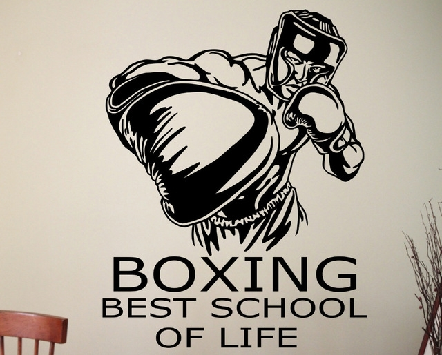 Boxing Wall Decal Sports Wall Stickers Sport Room Design Boxing Wall In Sports Wall Art (Image 4 of 25)
