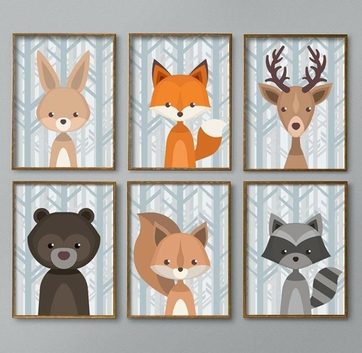 Boy Nursery Art Woodland Nursery Decor Baby Boy Nursery Wall Art Within Woodland Nursery Wall Art (View 8 of 25)