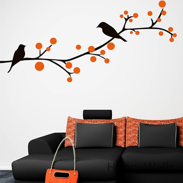 Branch Birds Wall Sticker Tree Wall Decal Baby Nursery Home With Bird Wall Art (View 3 of 10)