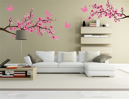 Branches With Birds Wall Graphics, Wall Graphic, Tree Decal, Tree In Stick On Wall Art (View 2 of 20)