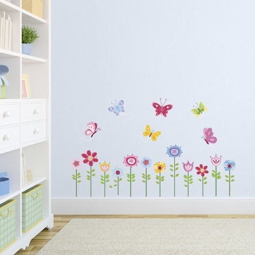 Bright Butterfly Garden Decorative Peel & Stick Wall Art Sticker With Regard To Stick On Wall Art (Image 3 of 20)