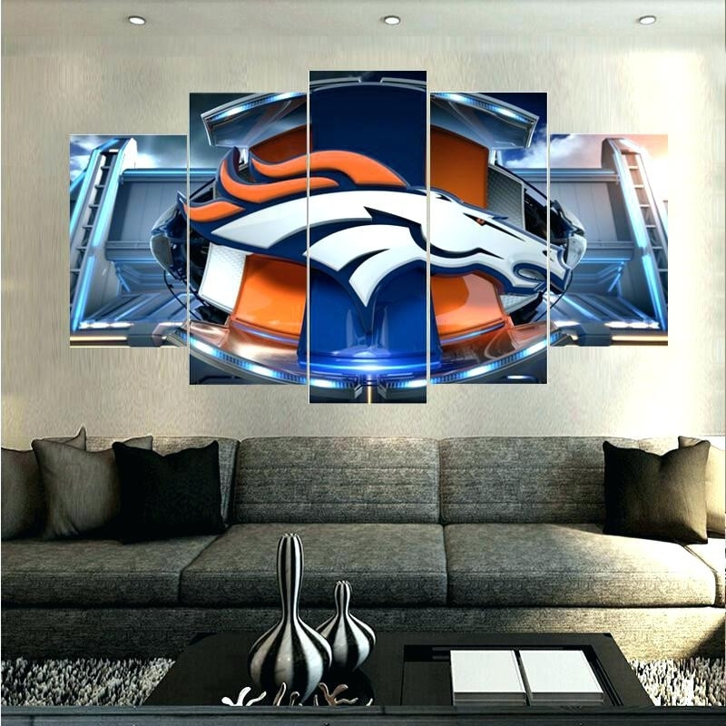 Broncos Wall Art Superb Denver Picture 5 Piece Abstract Canvas Pertaining To Broncos Wall Art (View 5 of 20)