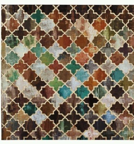 Brown Orange Teal Gold Foiled Moroccan Tile Canvas Wall Art Wall Throughout Tile Canvas Wall Art (Image 2 of 25)