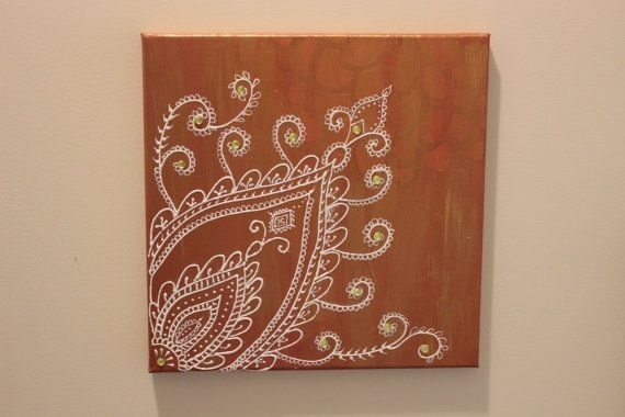 Brown Original Moroccan Wall Art/ Henna Art/ Henna Design/ Arabic For Henna Wall Art (Image 8 of 25)