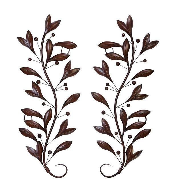 Brushed 3D Relief Metal Wall Art Scroll Leaves With Buds Vines With throughout Vertical Metal Wall Art