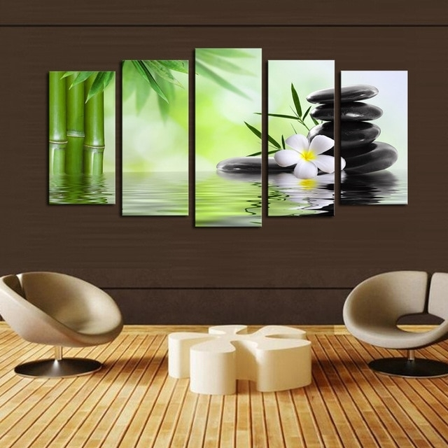 Buddha Nature Canvas Prints 5 Pieces Painting Wall Art Home Decor Regarding Nature Wall Art (Image 8 of 25)