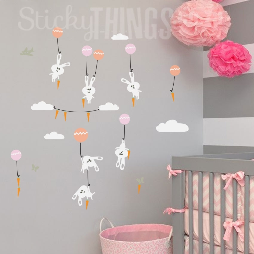 Bunnies Wall Art Sticker With Carrots – Stickythings.co (Image 4 of 20)