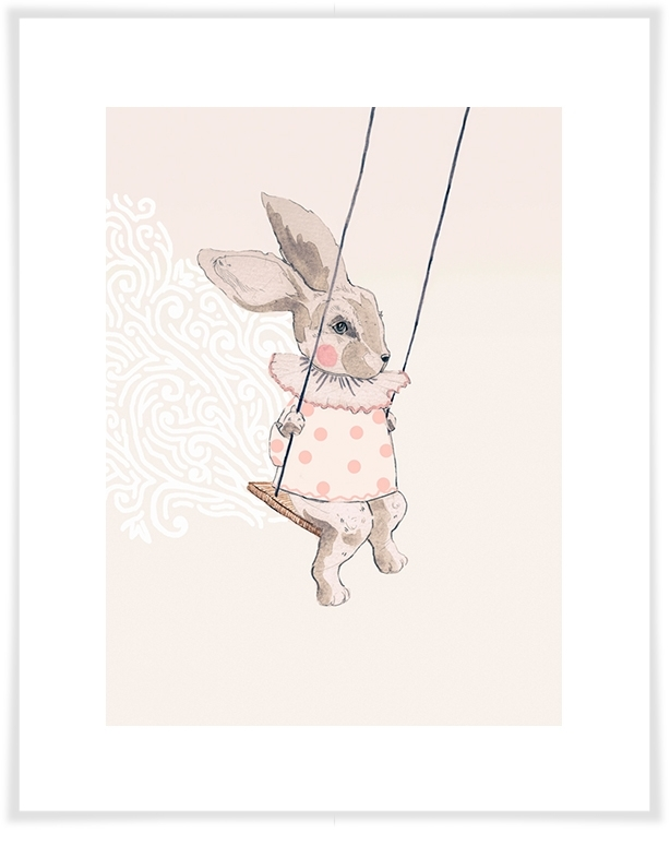 Bunny Swing, Animals Canvas Wall Art | Oopsy Daisy Within Bunny Wall Art (View 3 of 20)