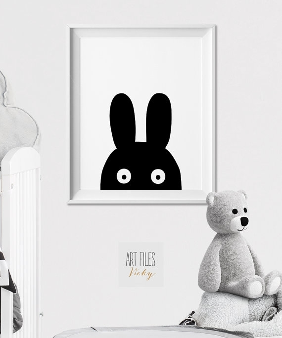 Bunny Wall Art, Nursery Animal Print, Poster, Minimal, Black And With Bunny Wall Art (Image 7 of 20)