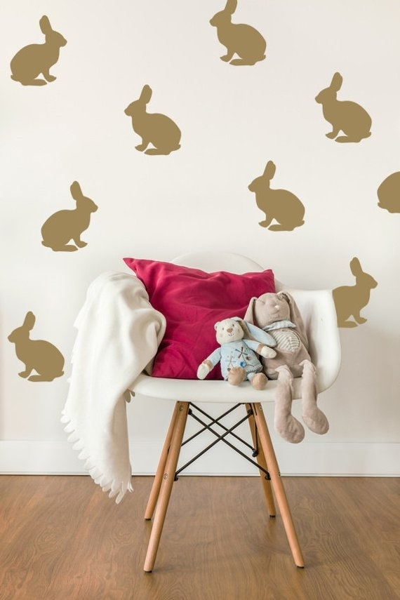 Bunny Wall Decal Rabbit Wall Decal Bunny Wall Art Nursery | Etsy Regarding Bunny Wall Art (Image 8 of 20)