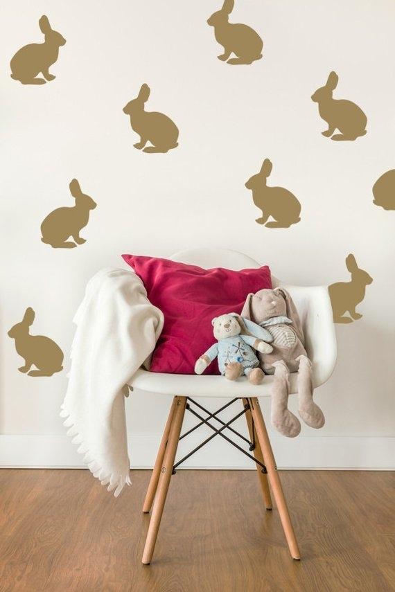 Bunny Wall Decal Rabbit Wall Decal Bunny Wall Art Nursery | Etsy Regarding Bunny Wall Art (View 4 of 20)