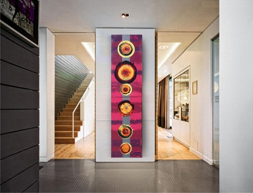 Burgundy A058 Abstract Painting Vertical Wall Art Decorative Arts With Vertical Wall Art (Image 5 of 20)