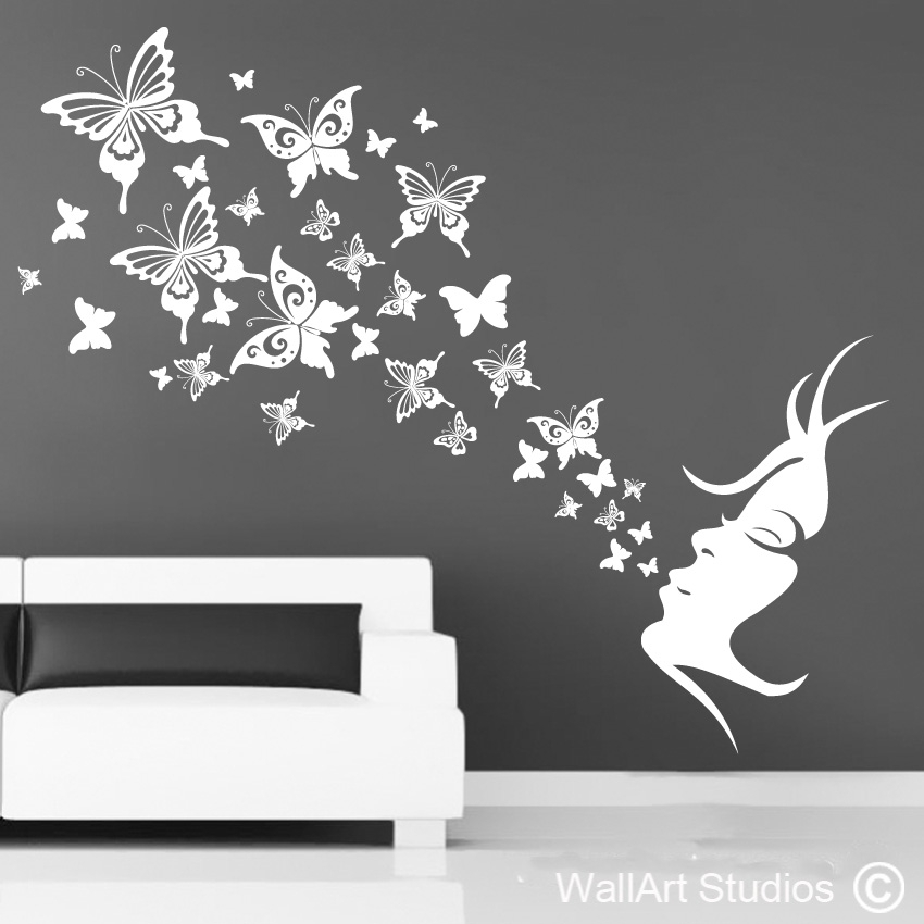 Butterfly Breath | Home Decor Vinyl Decals | Wall Art Studios Intended For Butterfly Wall Art (Image 4 of 10)