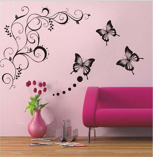 Butterfly Vine Flower Wall Art Mural Stickers Decals Wall Paster Intended For Flower Wall Art (Image 1 of 20)