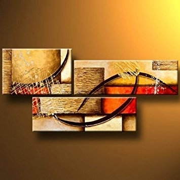 Buy 3 Pics Abstract Paintings Modern Art Oil Painting On Canvas Wall Throughout Wall Art Paintings (View 8 of 25)