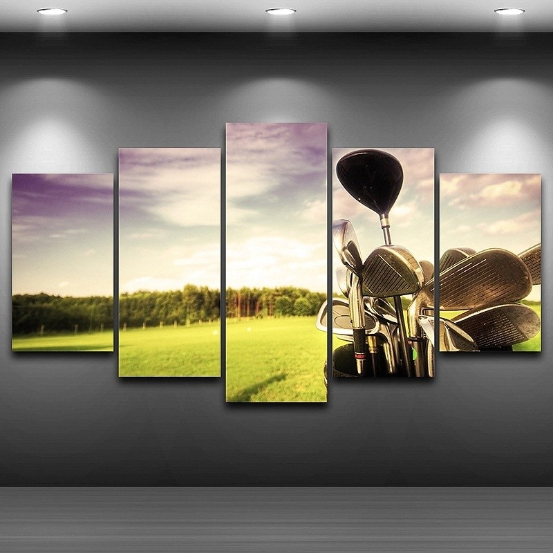 Buy 5 Panel Wall Art Golf And Get Free Shipping On Aliexpress Pertaining To Golf Canvas Wall Art (View 4 of 25)