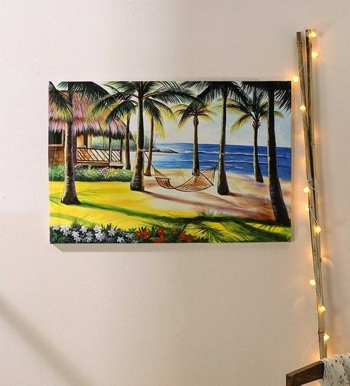 Buy Canvas 36 X 1 X 24 Inch Modern Abstract Painting Sea Beach Within Modern Abstract Painting Wall Art (Image 9 of 25)