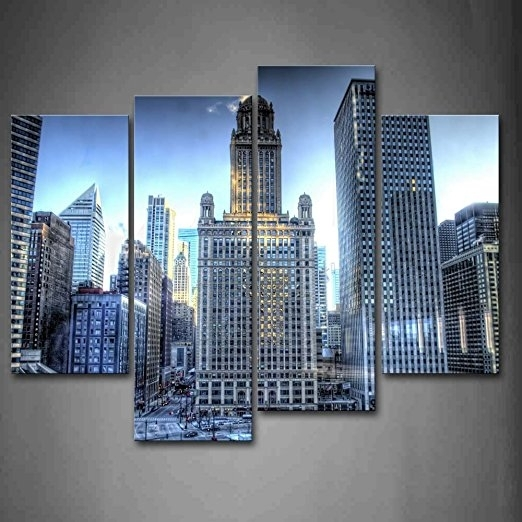 Buy First Wall Artâ® – Tall Buildings With Many Windows In Intended For Chicago Wall Art (Image 2 of 10)