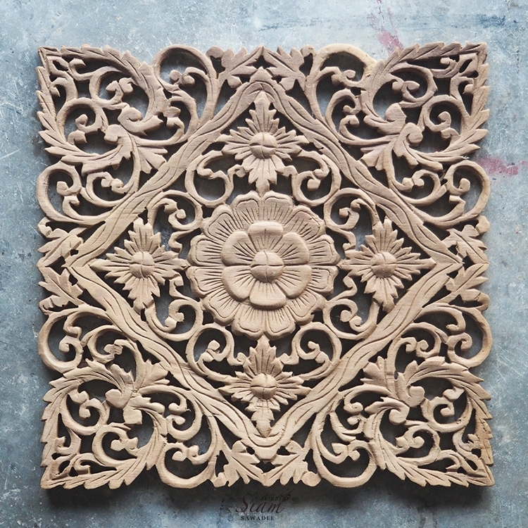 Buy Lotus Carved Wood Wall Art Panel From Bali Online Regarding Wood Carved Wall Art (Image 4 of 25)