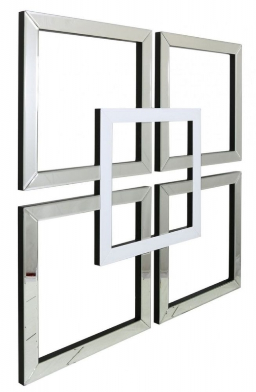 Buy Montague White Geo Wall Art Mirror Online – Cfs Uk Within Mirrored Wall Art (Image 6 of 20)