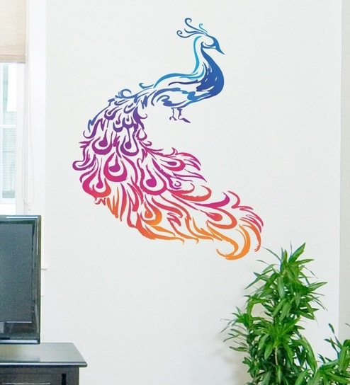 Buy Pvc Vinyl Colourful Peacock Wall Stickerdecor Kafe Online With Peacock Wall Art (View 2 of 10)
