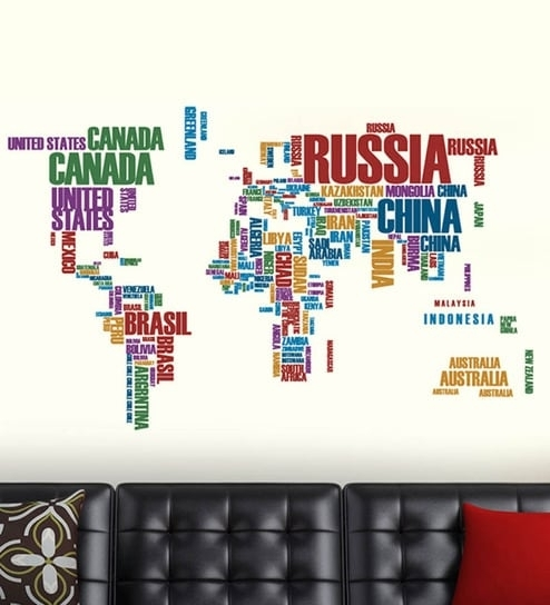 Buy Walltola World Map With Country Names Pvc Vinyl Wall Sticker For Vinyl Wall Art World Map (Image 6 of 25)