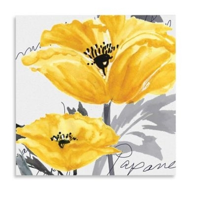 Buy Yellow Poppy I Canvas Wall Art From Bed Bath & Beyond | Bathroom Inside Yellow Wall Art (Image 3 of 20)
