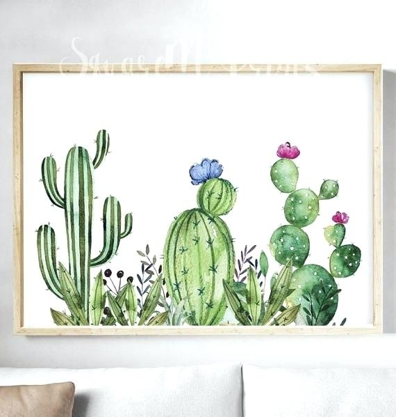 Cactus Wall Art Modern Green Plant Cactus Canvas Art Print Poster Within Cactus Wall Art (Image 7 of 20)