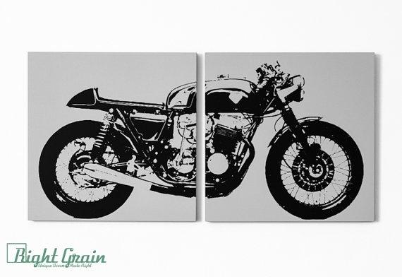 Cafe Racer Motorcycle Wall Art – Vintage Garage Decor In Custom In Motorcycle Wall Art (View 5 of 25)