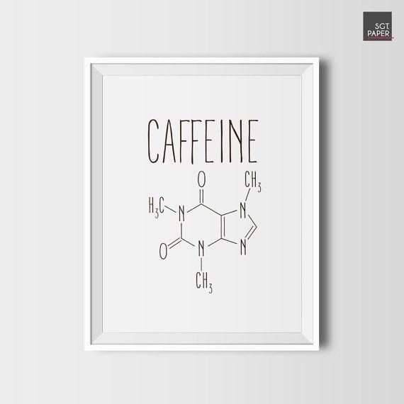 Caffeine Molecule, Coffee Decor, Printable Coffee, Digital Download Pertaining To Coffee Wall Art (View 4 of 10)