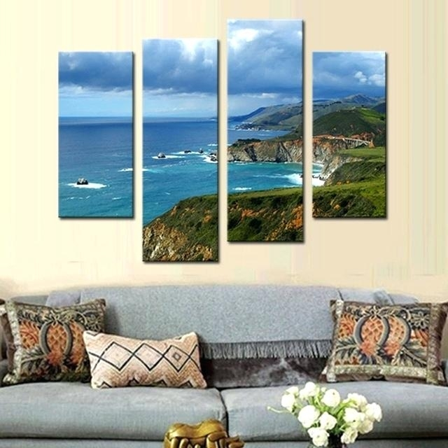 California Wall Art 4 Picture Combination Wall Art Painting Blue Sea In California Wall Art (View 15 of 20)