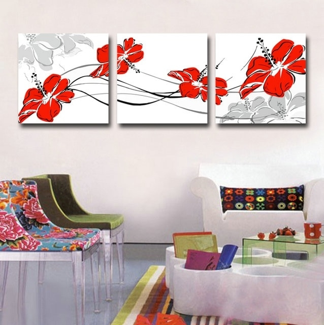 Canvas Art Print Red Flower Set Of 3 Modern Wall Pictures For Living Regarding Wall Art Prints (Image 4 of 20)