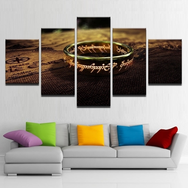 Canvas Pictures Living Room Wall Art Framework 5 Pieces Lord Of The For Lord Of The Rings Wall Art (View 3 of 20)