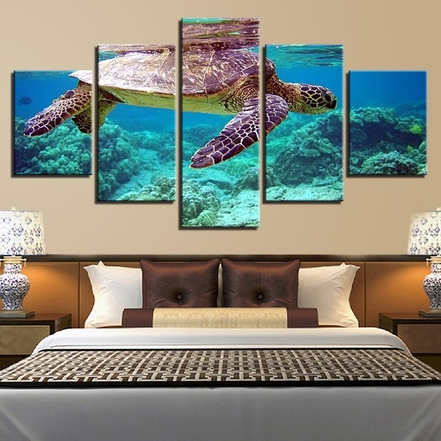 Canvas Pictures Wall Art Framework 5 Pieces Blue Deep Sea Turtle Within Sea Turtle Canvas Wall Art (View 15 of 25)