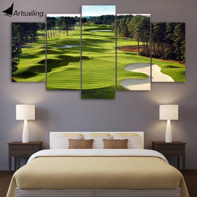 Canvas Print 5 Pieces Paintings Golf Course Wall Art Canvas Pictures With Regard To Golf Canvas Wall Art (View 2 of 25)