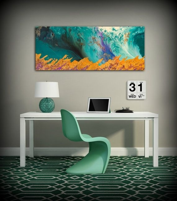 Canvas Print Wall Decor Large Abstract Wall Art Teal And Orange Pertaining To Oversized Teal Canvas Wall Art (View 20 of 25)