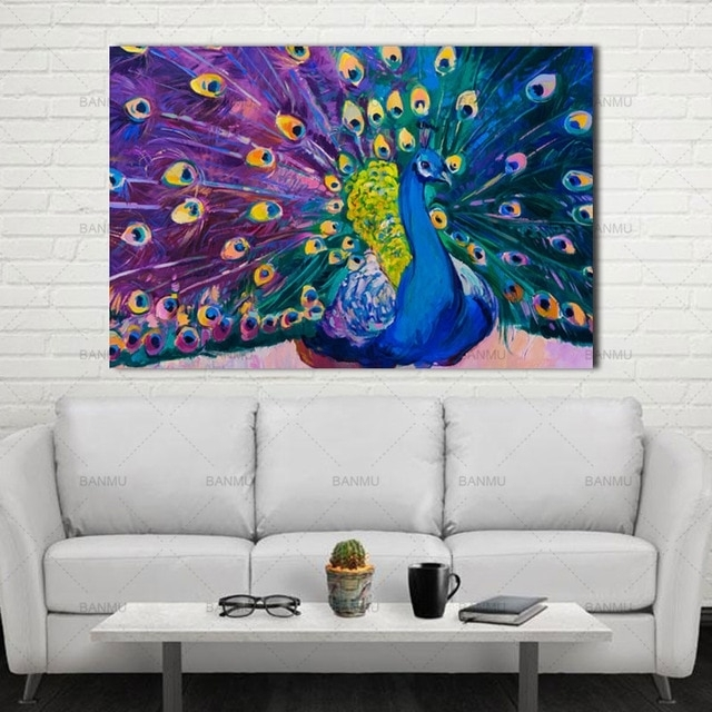 Canvas Prints Home Decor Modern Animal Wall Art Painting Peacock In Peacock Wall Art (Image 3 of 10)