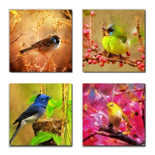 Canvas Prints Wild Birds Painting Picture Print On Canvas – 4 Panels Throughout Bird Framed Canvas Wall Art (Image 10 of 25)