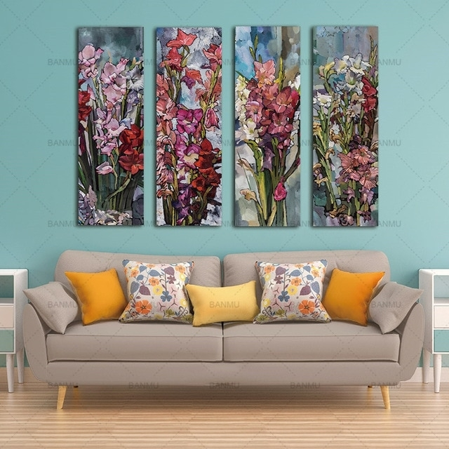 Canvas Wall Art Canvas Painting Flower Painting Wall 3 Panel Wall With Panel Wall Art (View 3 of 25)