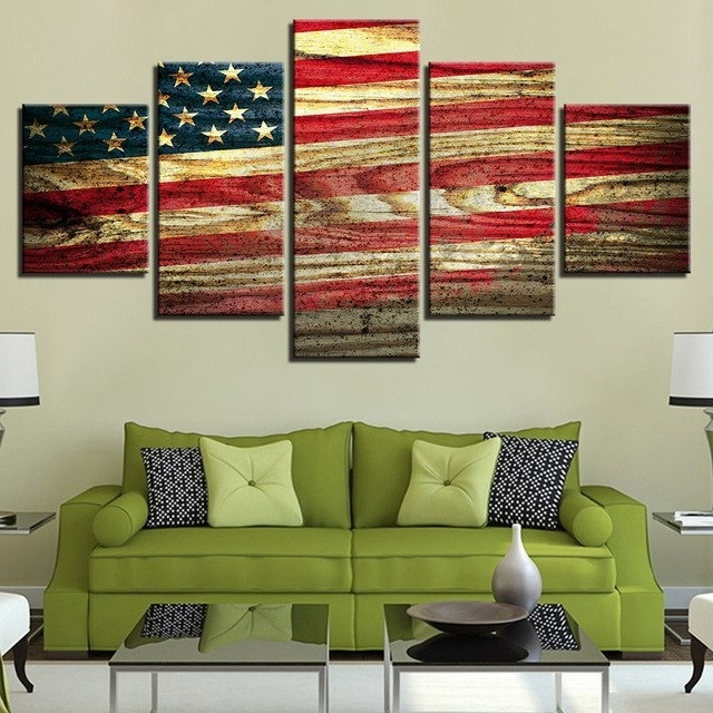 Canvas Wall Art Hd Prints Modular Pictures 5 Pieces Vintage American For Vintage American Flag Wall Art (Image 6 of 25)