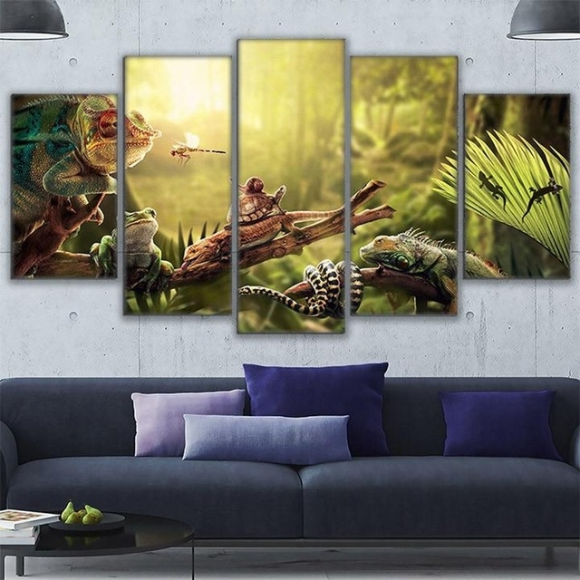 Canvas Wall Art Home Decor Prints Poster 5 Pieces Iguana Snail Gecko Pertaining To Gecko Canvas Wall Art (View 4 of 20)