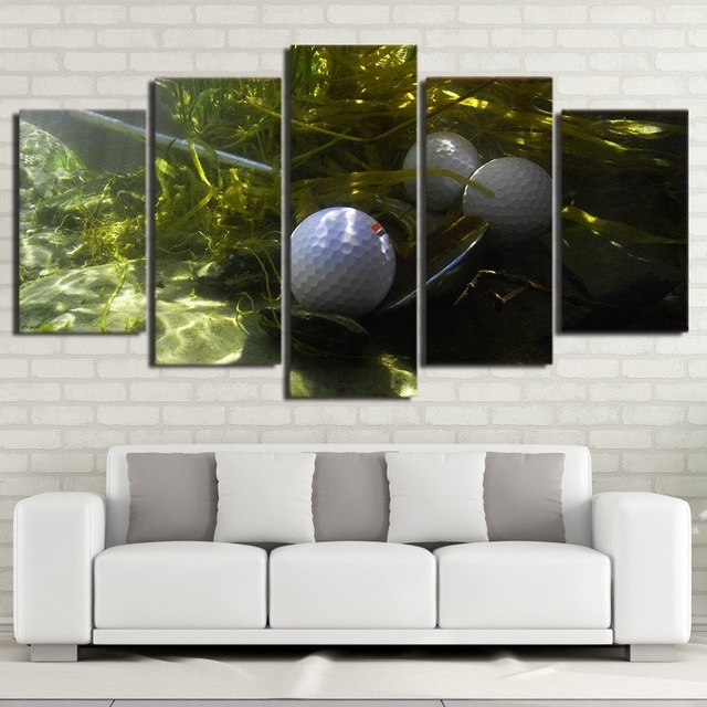 Canvas Wall Art Pictures Living Room Home Decor Frame 5 Piece Golf Inside Golf Canvas Wall Art (View 25 of 25)