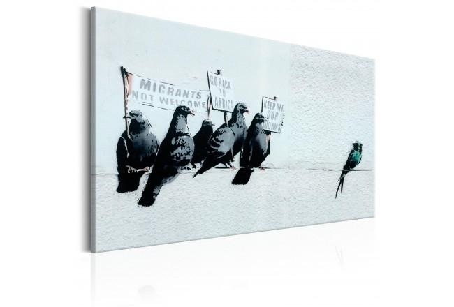 Canvas Wall Art Protesting Birdsbanksy – Graffiti – Street Art For Bird Framed Canvas Wall Art (View 13 of 25)